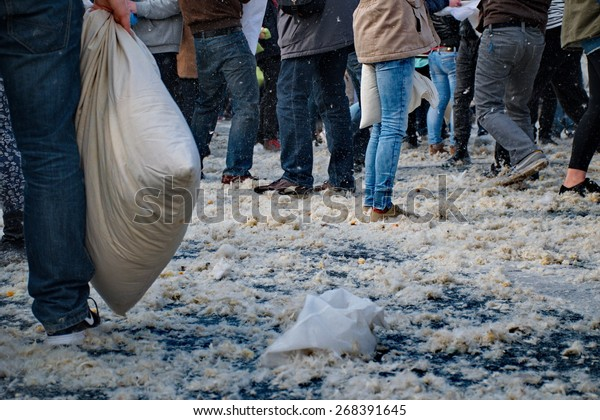BUDAPEST, HUNGARY - APRIL 04:Pillow fight day on Heroes Square  in Budapest, Hungary on April 04, 2015