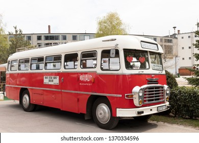 BUDAPEST, HUNGARY - April 05, 2019: A vVintage red oldtimer Ikarus bus on display at a classic car show.