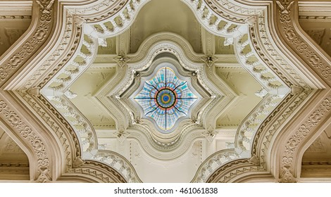 BUDAPEST, HUNGARY - APRIL 08, 2016: Interior of the Museum of Applied Arts in Budapest