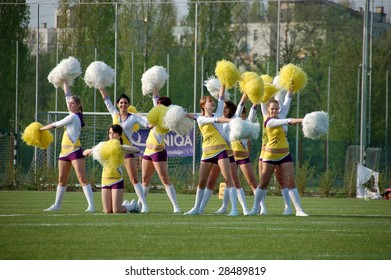 BUDAPEST, HUNGARY APRIL 11: Hungarian American Football Teams, Ujpest Bulldogs vs Dunaujvaros Gorillaz on 11st April 2009 in Budapest, Hungary. Cheerleaders performing in the half time.