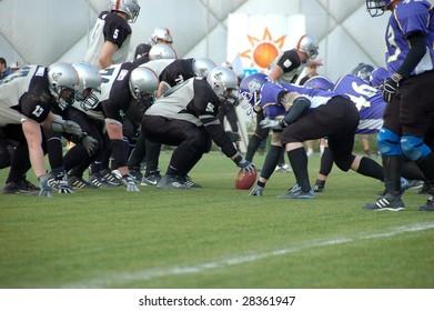 BUDAPEST, HUNGARY - APRIL 11: Players in action at Hungarian American Footbal match between Ujpest Bulldogs vs. Dunaujvaros Gorillaz 11 April, 2009 in Budapest, Hungary. Bulldogs beat Gorillaz 34–0.