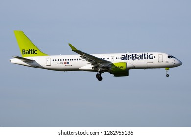 BUDAPEST / HUNGARY - APRIL 14, 2018: Air Baltic Airbus A220-300 YL-CSE passenger plane landing at Budapest Airport