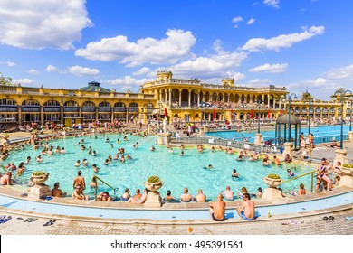 Budapest, Hungary. April 16, 2016: Szechenyi Baths in Budapest in Hungary on a sunny day. The biggest bath complex in Europe.