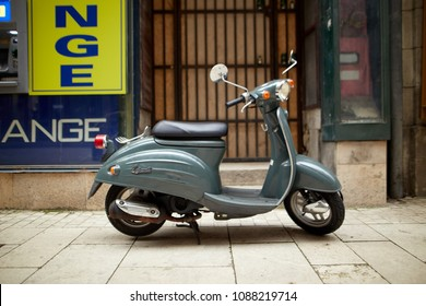 Budapest, Hungary - April 17, 2018: a motorcycle parked on the street