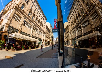 Budapest, Hungary - April 18 2018: Tourists and visitors on the famous Vaci Utca, the main shopping street in Budapest, Hungary.