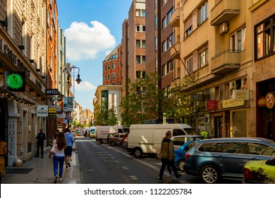 Budapest, Hungary - April 18 2018: Tourists and visitors are in the famous Inner City, one of the main shopping district in Budapest, Hungary.