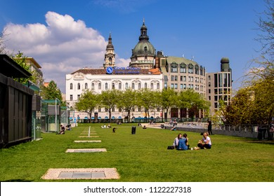 Budapest Hungary April 18 2018: Deak Ferenc Square, The Aquarium draw innumerable young people here every night and than the square always buzzing and full of good vibes.