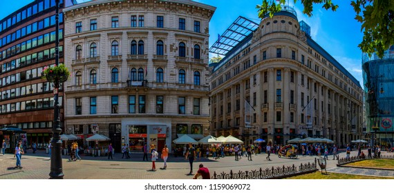 Budapest, Hungary - April 18 2018: Tourists and visitors on the famous Vorosmarty Plaza - center of Down Town -, one of the main shopping area in Budapest.