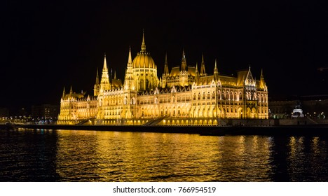 BUDAPEST, HUNGARY - APRIL, 2017: the beautiful Parliament Building light u at night in Budapest, Hungary in April 2017.