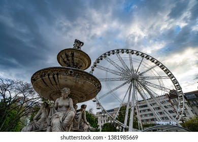 Budapest, Hungary - April 21, 2019: Neptune fountain at Budapest eye at Erzsebet square in Budapest, Hungary.