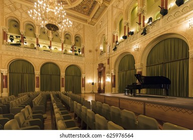 BUDAPEST, HUNGARY- APRIL 22 2016: Interior of the Vigado Concert Hall,  Budapest's second largest concert hall, located on the Eastern bank of the Danube.
