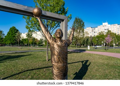 Budapest, Hungary - April 22, 2019: Monument of Gyula Grosics in Bikas Park. Grosics was a Hungarian football goalkeeper who played 86 times for the Hungary national football team.