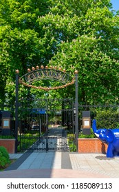 Budapest Hungary April 24 2018: The famous Gundel restaurant garden entry by the Budapest Zoo.