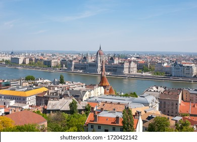 BUDAPEST, HUNGARY - APRIL 24. 2020: City center panorama with Parliament and River Danube.
