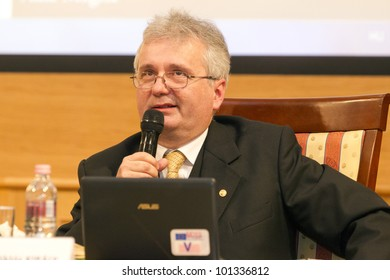 BUDAPEST, HUNGARY - APRIL 27: Prof. Miklos Kiraly, Dean of ELTE University Faculty of Law speaks on Conference on the Common European Sales Law org by ELTE Univ. on April 27, 2012..Budapest