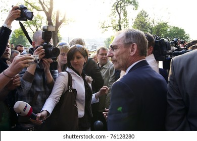 BUDAPEST, HUNGARY - APRIL 27: Sandor Pinter, minister of home affairs on the demonstration for the Basic Rights of hungarian gypsy population at the Ministry on April 27, 2011 in Budapest, Hungary.