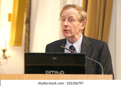 BUDAPEST, HUNGARY - APRIL 27:Prof. Hugh Beale, University of Warwick speaks on Conference on the Common European Sales Law org by ELTE Univ. on April 27, 2012..Budapest