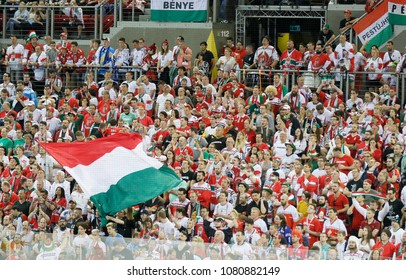 BUDAPEST, HUNGARY - APRIL 28, 2018: The Hungarian supporters cheer during match between Hungary and Great Britain at Budapest Sports Arena.