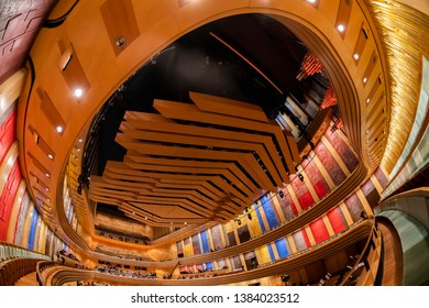 BUDAPEST, HUNGARY - April 28, 2019: Interior of the contemporary building Palace of Arts (MUPA). MUPA is the most popular music hall and cultural center in Budapest, officially opened in March 2005.
