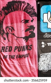 BUDAPEST HUNGARY APRIL 29 2014: Street art advertisement and T-shirts now making fun out of the once hard line communist system. Budapest is the perfect place to walk and looking for street art.