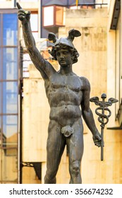 BUDAPEST HUNGARY APRIL 29 2014: Statue of Mercury by David Pride  in the hart of Budapest Vaci St. This statue is well exposed to tourists and art lover however one of the lesser known art.