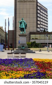 """BUDAPEST HUNGARY APRIL 29 2014: József Eötvös monument in Budapest District V"""" in the hart of Budapest . This statue is well exposed to tourists and art lover however one of the lesser known art."""
