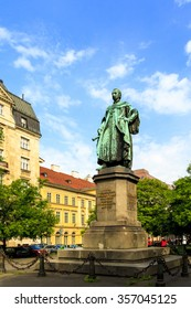 """BUDAPEST HUNGARY APRIL 29 2014: Statue of Archduke Joseph  in Budapest District V"""" in the hart of Budapest . This statue is well exposed to tourists and art lover however one of the lesser known art."""