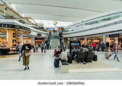 Budapest, Hungary - April 30, 2018: Budapest Ferenc Liszt International Airport (BUD) named after Franz Liszt, the Hungarian composer and is one of the busiest airports in Central and Eastern Europe