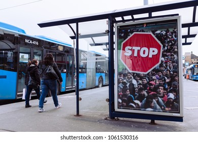 Budapest, HUNGARY - April 4, 2018: Hungarian government billboard anti-immigration campaign, say STOP the refugees immigration.