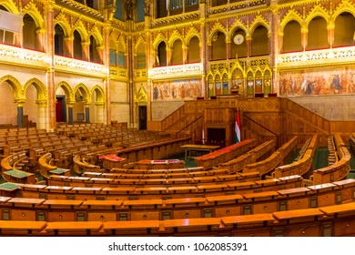 BUDAPEST, HUNGARY, April 5 2018: The interior of the hungarian parliament few days before the election