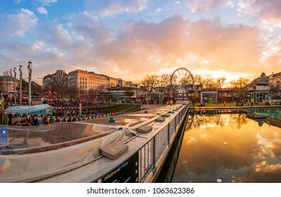 Budapest, Hungary - April 6, 2018: The Aquarium club at sunset in center of Budapest.