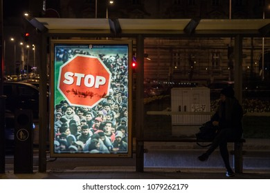 BUDAPEST, HUNGARY - APRIL 7, 2017: Anti Immigration poster from Viktor Orban government in the streets of Budapest during the 2018 general elections campaign