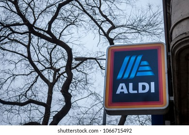 BUDAPEST, HUNGARY - APRIL 7, 2018: Aldi logo on one of their shops for Hungary. Aldi is a German Discount Supermarket chain developped worldwide