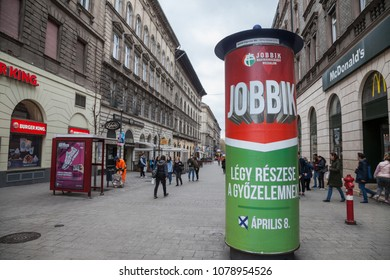 BUDAPEST, HUNGARY - APRIL 7, 2018: Jobbik electoral poster in the streets of Budapest for the parliamentary elections of 2018. Jobbik is the main extreme right party of the country
