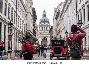 Budapest, Hungary - April 7, 2018: St. Stephen's Basilica front view with red elements