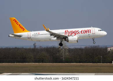 Budapest / Hungary - April 8, 2019: Pegasus Airlines Airbus A320 NEO TC-NBF passenger plane arrival and landing at Budapest Airport