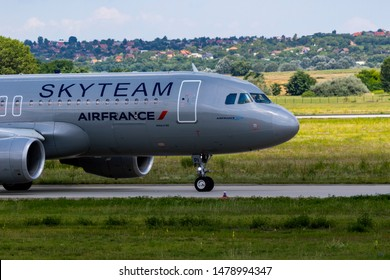 Budapest Hungary Aug 12 2019: Air France Airbus 320 F-HAPI taxiing to take off at Budapest International airport.