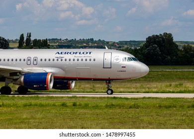 Budapest Hungary Aug 12 2019: Aeroflot Airbus 320 VQ-BSI just taxiing to take off at Budapest International Airport.