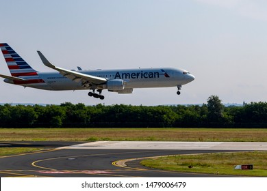 Budapest Hungary Aug 12 2019: American Airline Boeing 777 N 350NA just landing at Budapest International airport.