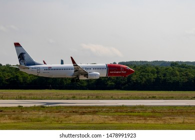 Budapest Hungary Aug 13 2019: Norwegian  Airline Boeing 737 EI-FHH just landing at Budapest International airport.