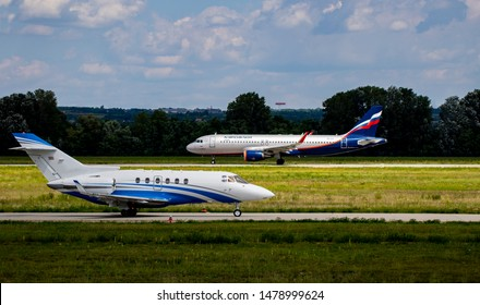 Budapest Hungary Aug 13 2019: A Hungarian private business jet HA-BES taxiing to take off   at Budapest International airport.