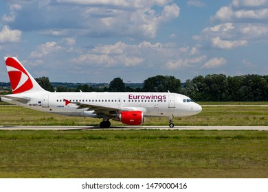 Budapest Hungary Aug 13 2019: Eurowings Airline Airbus 319 OK-NEO just taxiing for take off at Budapest International airport.