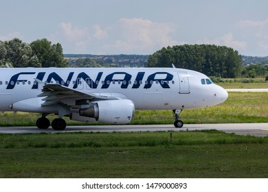 Budapest Hungary Aug 13 2019: Finnair Airbus 320 D-AIN taxiing for take off at Budapest International airport.