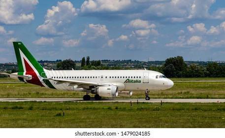Budapest Hungary Aug 13 2019: Alitalia Airline Airbus 319 EI-IMJ taxiing for take off at Budapest International airport.