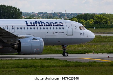Budapest Hungary Aug 13 2019: Lufthansa  Airbus 321 D-AINJ taxiing for take off at Budapest International airport.