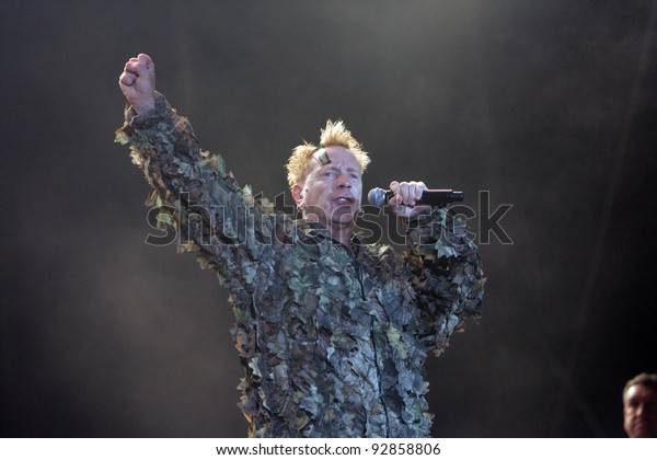BUDAPEST, HUNGARY - AUG 15: The Sex Pistols -  John Lydon (aka Johnny Rotten),  perform in concert at the annual Sziget music festival in Budapest, Hungary, on Friday, August 15, 2008.