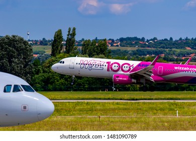 Budapest Hungary Aug 17 2019: Wizzair Airline Airbus 321 HA-LTD just landing at Budapest International airport.