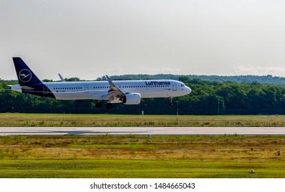 Budapest Hungary Aug 19  2019: Lufthansa Airbus 321 D-AIEA just landing at Budapest International airport.