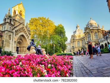 BUDAPEST, HUNGARY, AUG 30: Exterior of Vajdahunyad castle in Budapest, famous tourist landmark on August 30th, 2017 Budapest.