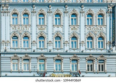 BUDAPEST, HUNGARY - AUG 4, 2008:  historic facade of Mercure Hotel in Budapest. The   facade is a typical hungarian architecture Style from the late 18th century.